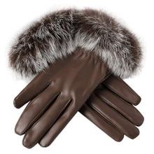 Feitong, Женские Элегантные перчатки,, модные, кожа, искусственный мех, зимние, теплые, варежки, полный палец, перчатки для женщин# JN