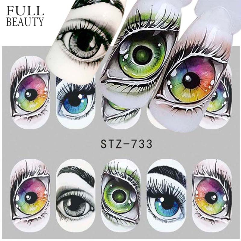 1x Skull Bone Nail Stickers Water Self Adhesive Halloween Slider Tattoo Big Eye Horror Decals For DIY Decor Wrap CHSTZ731-734