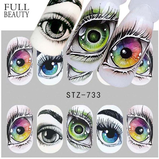 Full Beauty 1x Skull Bone Nail Sticker Water Self Adhesive Nail Art Tattoo Big Eye Horror Decals for DIY Decor Wrap CHSTZ731-734