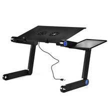 On Sale Adjustable Portable Aluminum Alloy Laptop Table Folding laptop Computer Desk Notebook Stand With Mouse Plate And Fans