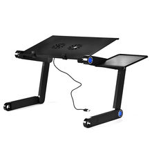 On Sale Adjustable Portable Aluminum Alloy Laptop Table Folding laptop Computer Desk Notebook Stand With Mouse Plate And Fans(China)
