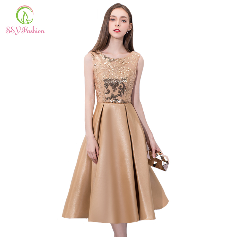SSYFashion Simple Sleeveless   Cocktail     Dresses   Banquet Elegant Gold Mid-length Satin with Sequined Party Gown Custom Formal   Dress