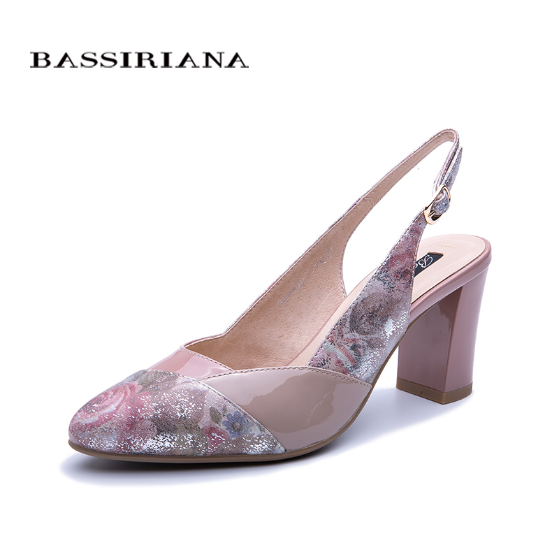 BASSIRIANA 2019 spring and summer new women s leather sandals women s high heels elegant color