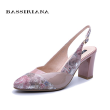 BASSIRIANA 2019 spring and summer new womens leather sandals high heels elegant color blue pink