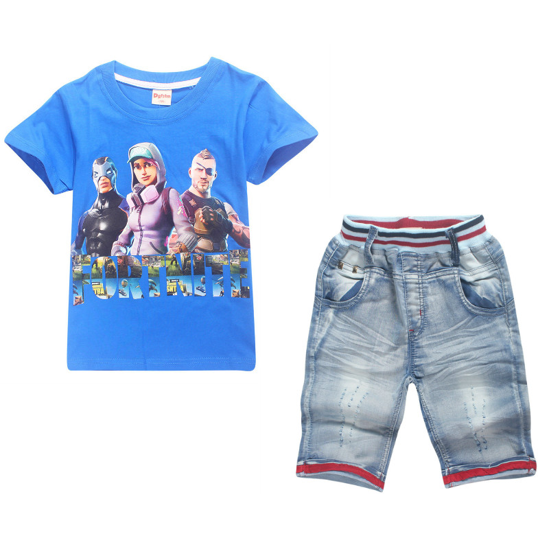 2018 Baby Sets Summer Boys Girls Set Clothes Cotton T shirt+Jeans Shorts Pants Game Fortnite Eat Chicken Printed Children Suit