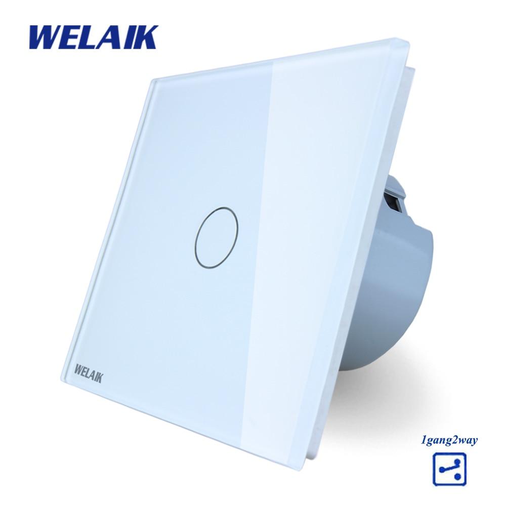 WELAIK Kristallglas-verkleidung Schalter Weiß Wandschalter EU Touch Schalter Bildschirm Wand Lichtschalter 1gang2way AC110 ~ 250 V A1912CW/B