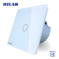 WELAIK Crystal Glass Panel Switch White Wall Switch EU Touch Switch Screen Wall Light Switch 1gang2way