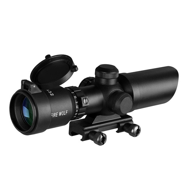 1.5-5X32 Short Scope Hunting Riflescope Red Dot Green Illuminated Optical Sight Rail 20mm Crossbows For Hunter Airsoft Weapons 6