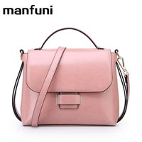 MANFUNI Women Leather Handbags Cowhide Bag Gift Female Crossbody Shoulder Bags Vintage Oil Wax Handbag Bolso