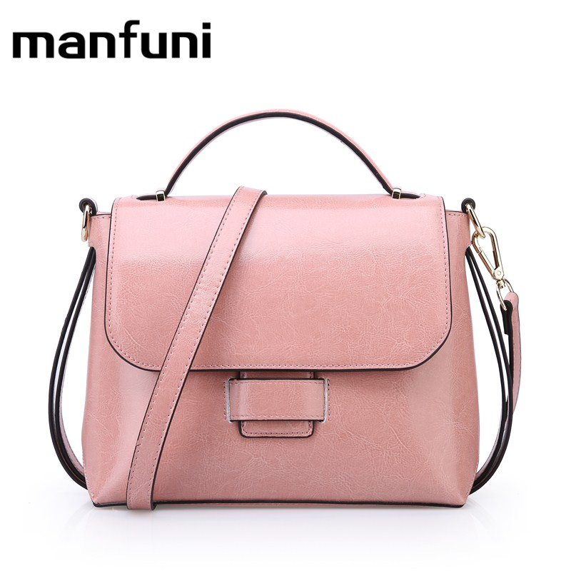 MANFUNI women Genuine Leather handbags Cowhide Bag Gift Female Crossbody Shoulder Bags Vintage oil wax handbag bolso mujer 0865 aetoo 2017 new arrival oil wax genuine leather women handbags fashion embossed crossbody bags female handbag trend bag bolsas