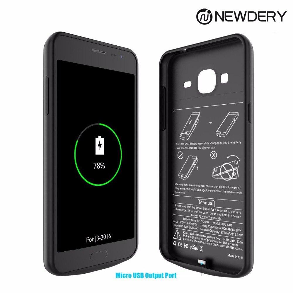 Newdery batterie cas 4000 mAh power bank cas de chargeur de batterie externe pour Samsung J3-2016/J3 6/J3 Ciel/J3 Sol
