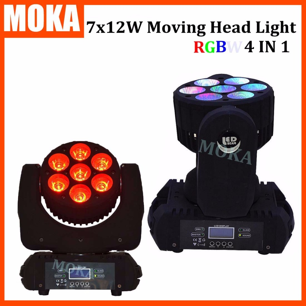 2 pcs/lot High Quality Zoom Led Mini Beam Wash Moving Head Light 7x12W 4in1 RGBW Quad Professional DJ Disco DMX Stage Lights