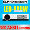 200inch screen Brightest 900Lumen Business Advertising Education data show 3D Full HD DLP Projector Beamer Projektor Proyector