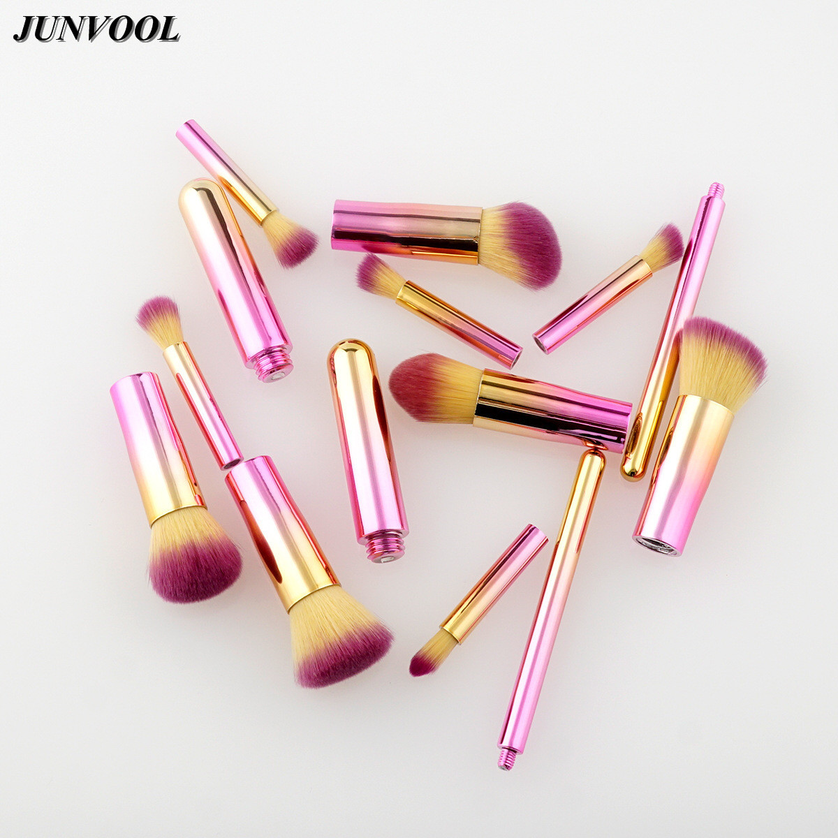 Golden Pink 10Pcs Make Up Brushes Set Detachable Foundation Face&Eye Powder Blusher Professional Cosmetic Makeup Brush Maquiagem 4 pcs golden professional makeup brushes waistline sculpting brush set cosmetic tool maquiagem accessories with original box