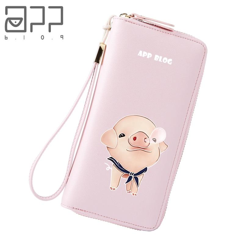 APP BLOG Brand Original Cute Pig Women's Wallet Custom Made Wallets Clutch Phone Bag Carteira Feminina Mujer Girl Purse Female