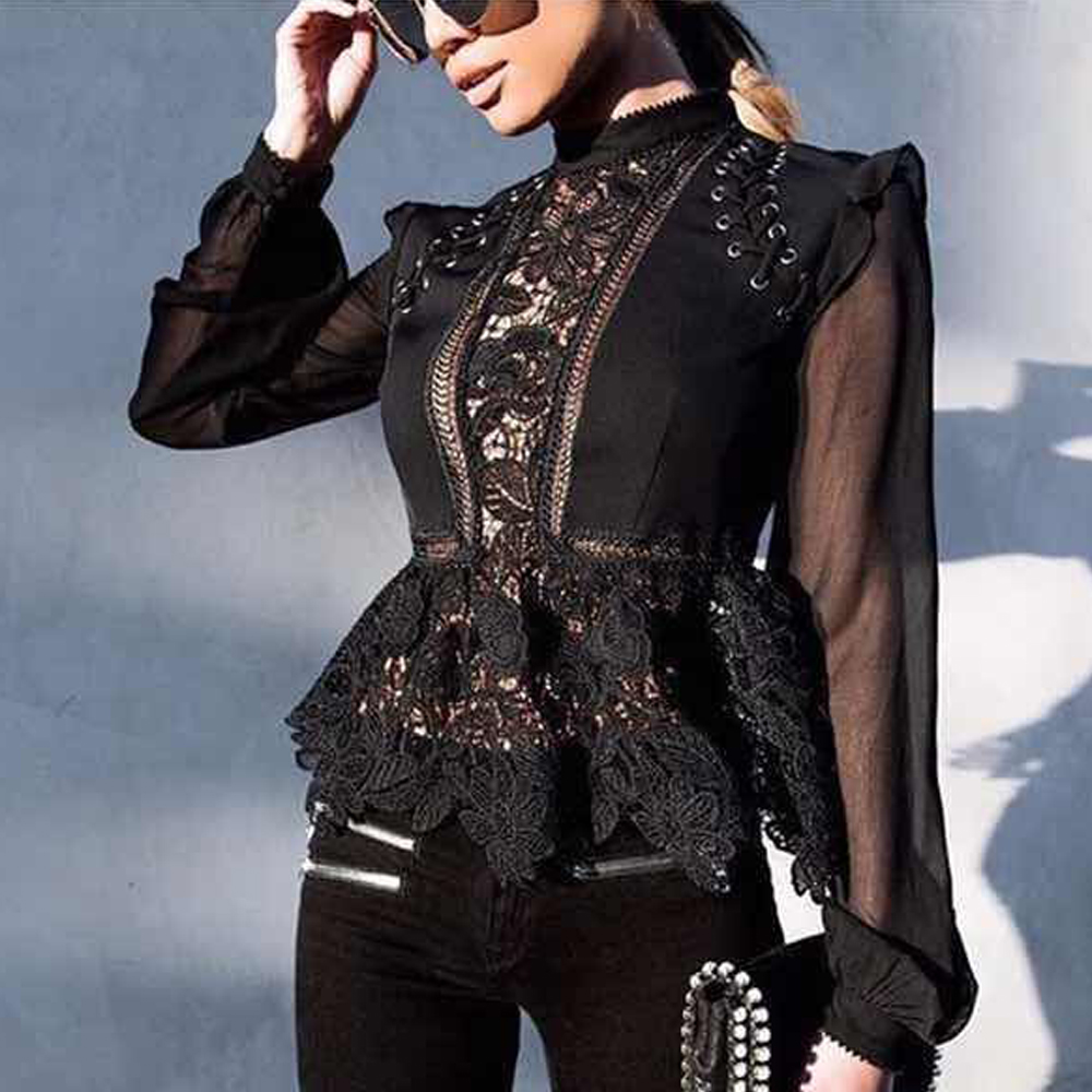 Missord 2019 Sexy O Neck Long Sleeve Hollow Out Black Color Top FT8608