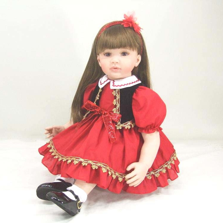 Pursue 24/60 cm Beautiful Red Dress Lifelike Toddler Princess Girl Dolls Silicone Reborn Toddler Dolls Toys for Children Gifts