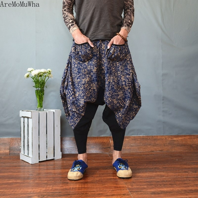 Aremomuwha Casual Pants Cropped-Trousers Linen Printed Ethnic-Style Loose Cotton Women