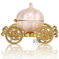H&D 3.4'' Hand Painted Enameled Cinderella Pumpkin Carriage Decorative Hinged Jewelry Trinket Box Unique Gift for Family