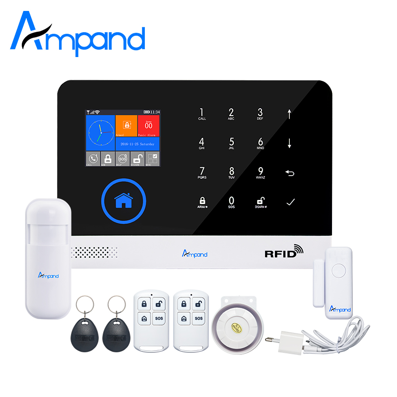 Ampand WIFI GSM GPRS English German Switchable RFID card Wireless Home Security Arm Disarm Alarm system APP Remote Control secual box v2 etiger wifi alarm system gsm safety alarm system with rfid reading keypad arm disarm alarm system