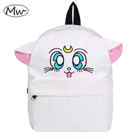 Japanese Cartoon Canvas Backpack Sailor Moon Backpack Cute Fold Cat Shoulder Bag School Bags For Teenager