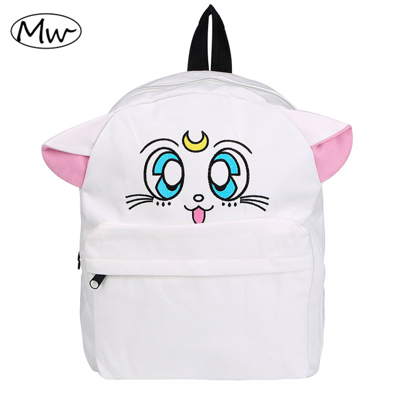 Japanese Cartoon Canvas Backpack Sailor Moon Backpack Cute Fold Cat Shoulder Bag School Bags For Teenager Girls Rucksack Mochila