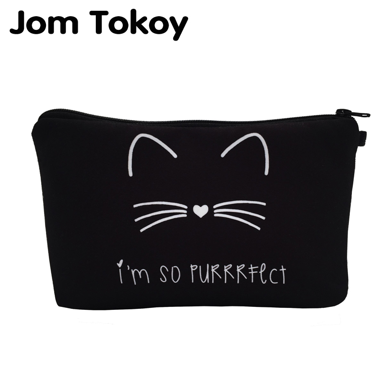 Jom Tokoy 2018 cosmetic organizer bag Pure black Cute cat prints Cosmetic Bag Fashion Women Brand makeup bag