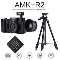AMKOV AMK-R2 24MP 1080 P цифровой зеркальной Камера + широкоугольный объектив видеокамеры DVR A26B + дополнительная Батарея + VCT-520 штатив фото ловушка
