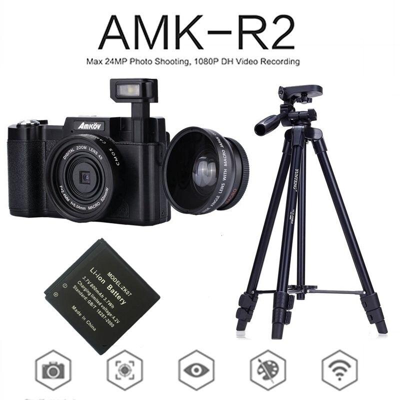 AMKOV AMK-R2 24MP 1080 P appareil Photo reflex numérique + caméscope grand angle DVR A26B + batterie supplémentaire + VCT-520 trépied piège Photo