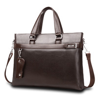 Top Sell Fashion Simple Dot Famous Brand Business Men Briefcase Bag Leather Laptop Bag Casual Man
