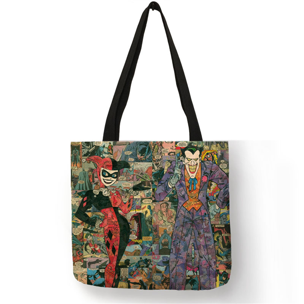 a12bc4473d69 Novelty Pattern Bag Sac A Main Cartoon Series Character Joker Shoulder Bag  Linen Fabric Reusable Work Shopper Handbag for Women