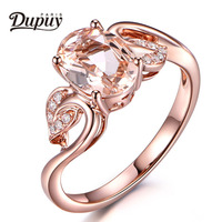 DUPUY 2018 New Hot Sale Fashion 14K Rose Gold 6x8mm Oval Cut Morganite Ring Engagement Promise Ring Jewelry Oval F0192MO
