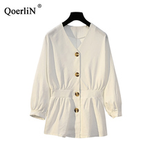 QoerliN Ethnic Embroidery Floral Blouse Women 2019 Fashion Single-Breasted Large Size Tops Shirts Female Red Blouses Street Wear