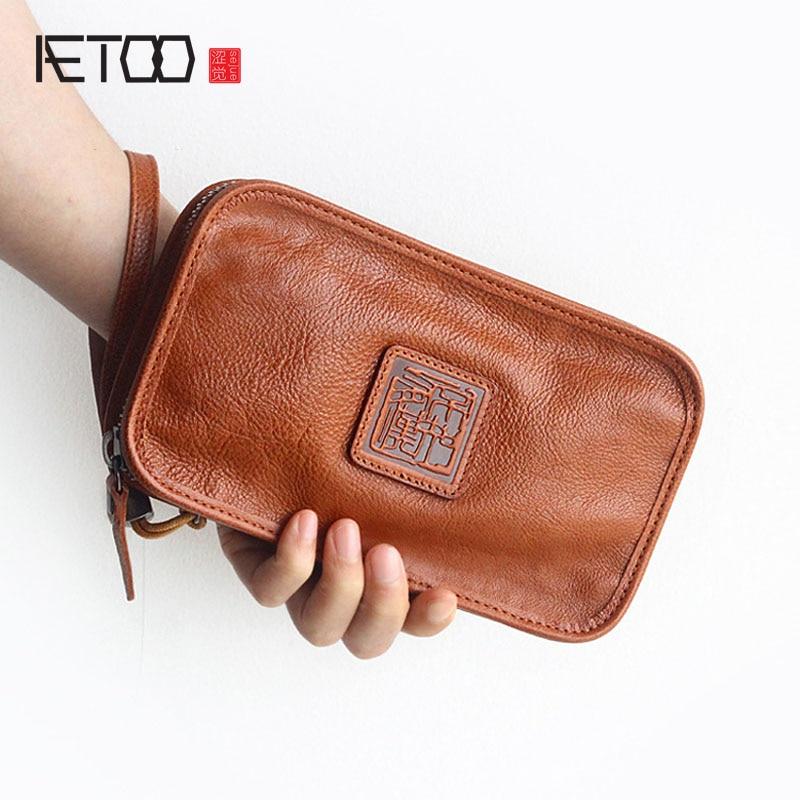 AETOO Retro Italian Vegetable Tanned Leather Handmade Long Sweater Wallet Men & Women Universal Large Capacity Vintage wallet