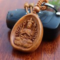 1pc 2016 Fashion Carefully Elegant Avalokitesvara Carved KeyChain Bag Chain Charming Keychains Car KeyRing Wood Chain Holder
