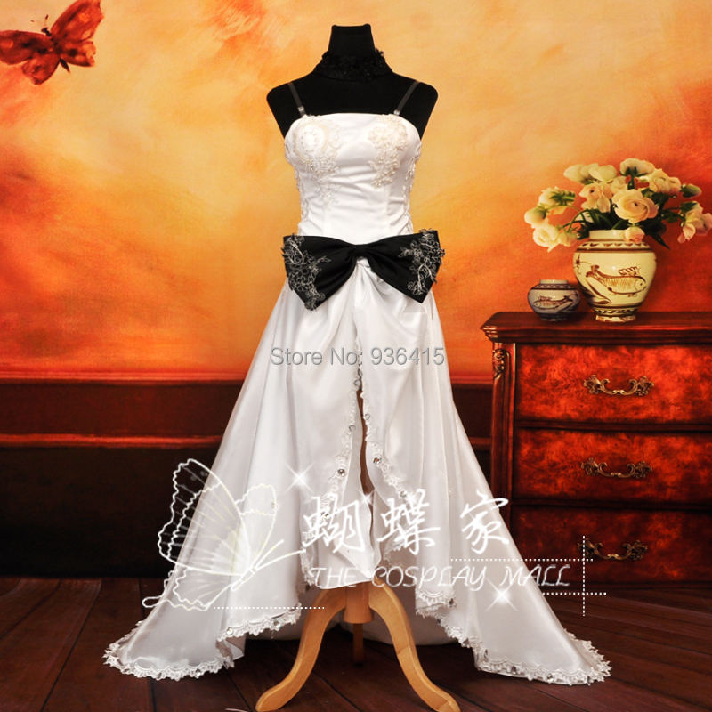 Free shipping Anime Vocaloid cosplay miku white long Dress Loro Rita maid Halloween costume for women for party/ christmas