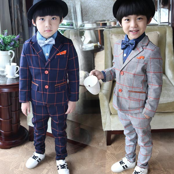 Baby boy Fall Blazers jackets 2 piece set Kids suit boys suits for weddings clothes blazer menino Boy wedding suit Clothing set 2016 new arrival fashion baby boys kids blazers boy suit for weddings prom formal wine red white dress wedding boy suits