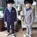 Bebé otoño Blazers chaquetas 2 unidades de los cabritos de los muchachos trajes para bodas ropa chaqueta menino Boy juego de la boda de la ropa