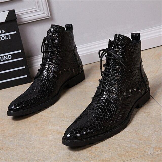 Erkek Pointu Lace Up Britannique Bot Homme Bout Chaussure Style De 2YWHEDI9