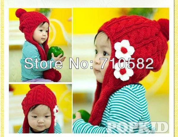 2016 недавно прибытие ухо защитить новорожденных девочек трикотажные шапки детские зимние вязаные шапки с махровыми цветками