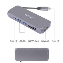 TYPE-C TO HDMI+PD+SD+TF+USB3.0 Support SD/Micros SD Card Reader To Read Simultaneously USB C Port Charging Supports 60 Watts