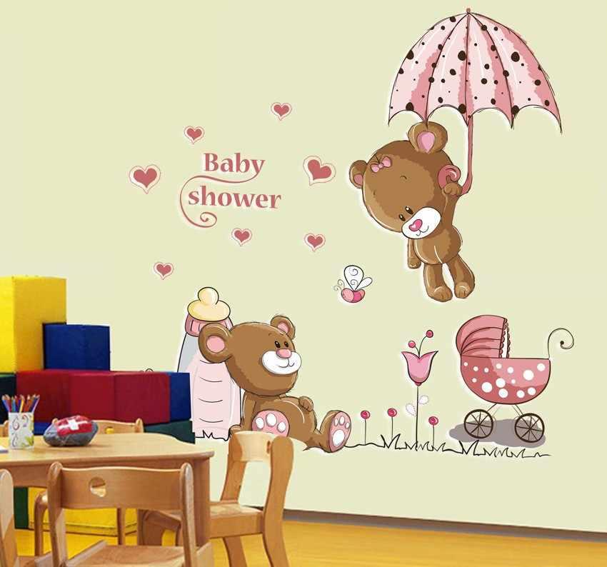 الوردي الكرتون القط الأرنب زهرة الجدار ملصق للطفل بنات غرف الاطفال ديكور المنزل تيدي بير مظلة الفصول الدراسية صور مطبوعة للحوائط