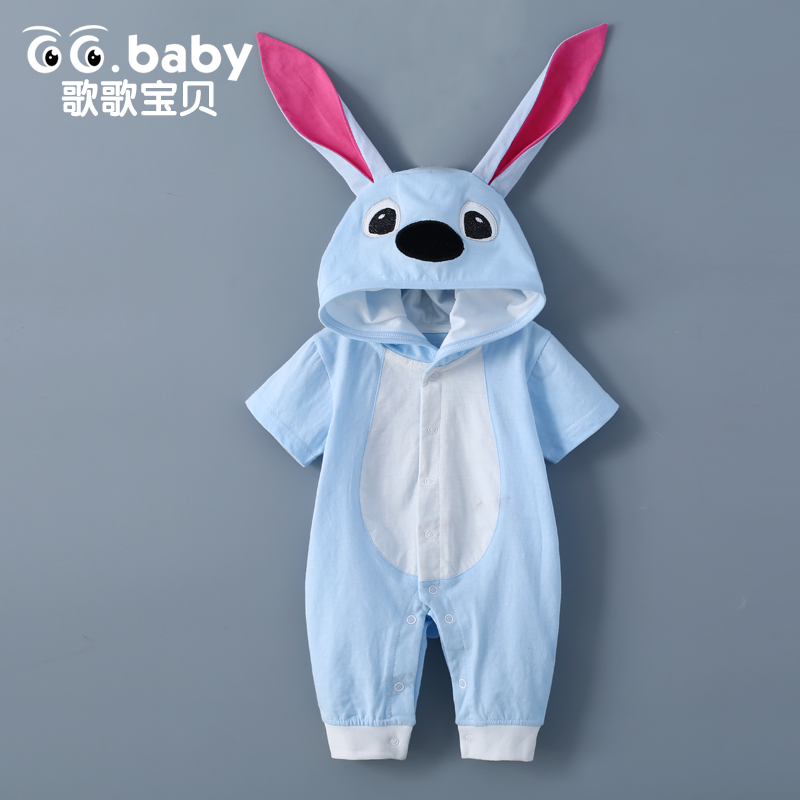 Cute Hooded Ear Baby Boys   Romper   Summer Overall Rabbit Costume Newborn Baby Clothes Jumpsuit Infant   Rompers   Baby Girls Overalls