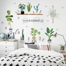 Creative Bonsai Cactus Wall Stickers Livingroom Decor Kids Room Decals Bedroom Plant Mural Art Furniture