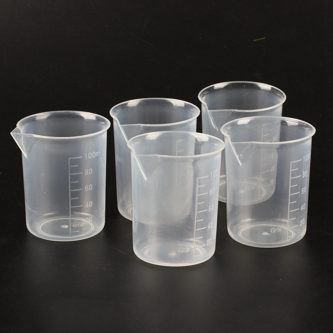 5 Pieces Of 100 Ml Transparent Measuring Cup Laboratory Plastic Measuring Cups