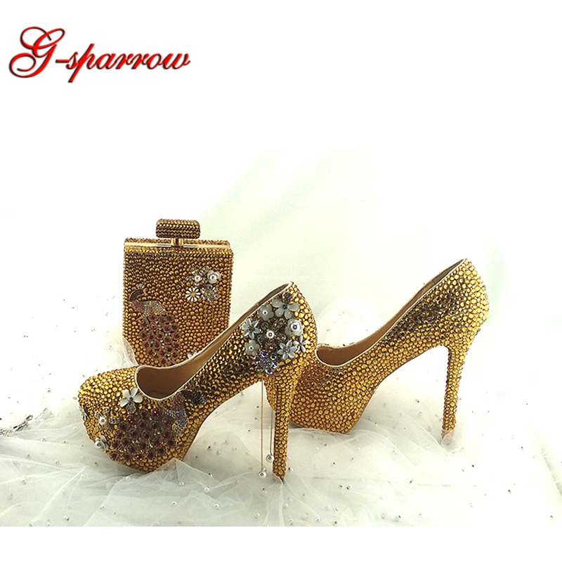 Sparkling Gold Crystal Wedding Party Shoes Handmade High Quality Rhinestone Bridal Dress Shoes Event Prom Pumps