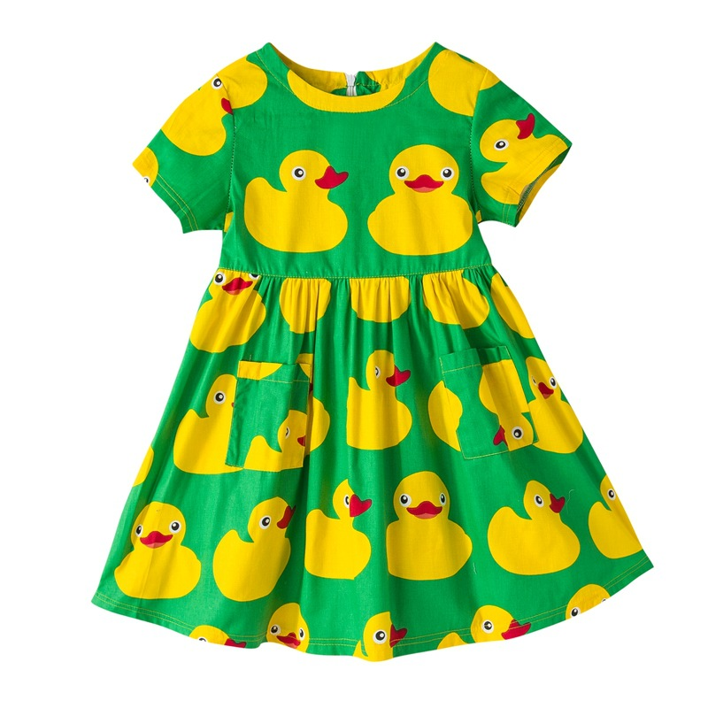 Girls Dress Summer Style Duck Dresses For Girls Infant Princess Casual Children Clothing With Pocket Fashion Cute Kids Clothes 2017 summer cute style baby girls clothing princess ruched dress children s clothes costumes for kids infant party bow dresses
