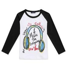 Boys T Shirt Creative Illustration Cotton Kids T-Shirt Raglan Long Sleeve Girl Tshirt Music Headphones Printed Children Clothing raglan sleeve bowknot embellished cut out t shirt