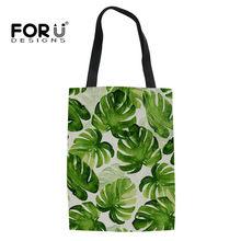 2bdaf71aa FORUDESIGNS Mulheres Saco de Compras Reutilizável Eco Bolsas De Folha De  Palmeira Verde Impresso Saco de
