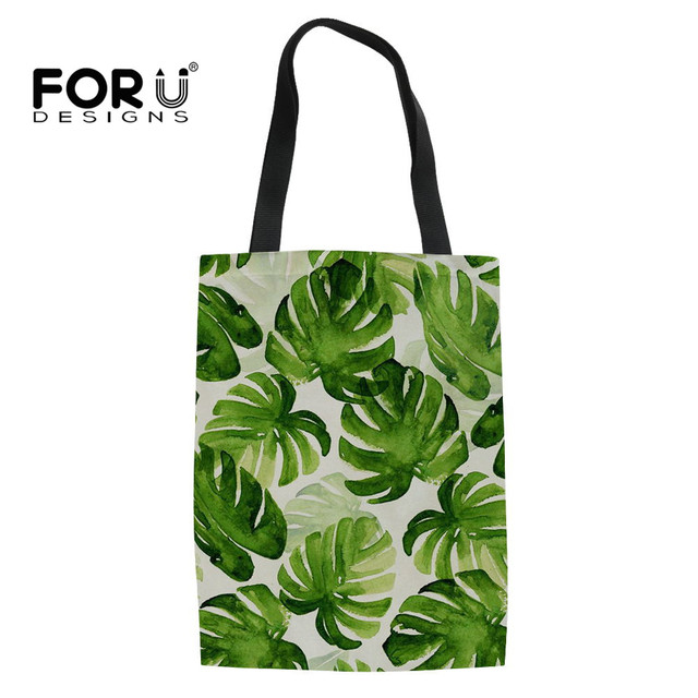 fd11bd8330 FORUDESIGNS Women Shopping Bag Reusable Green Palm Leaf Printed Cloth Bag  Grocery Eco Handbags Folding Canvas Tote Bags Bolsa